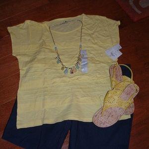 Liz Claiborne Size XL Yellow Shirt NWT